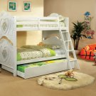 Isabella III Collection White Finish Flower & Heart Motif Bunk Bed - FREE DELIVERY IN CALIFORNIA