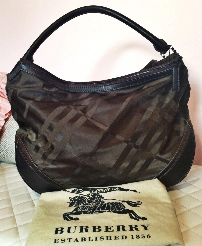 Burberry XL RARE Tonal Check Nylon & Brown Leather Hobo Bag Purse
