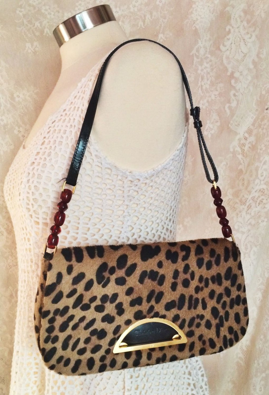 Christian Dior Fur Leopard Shoulder Purse