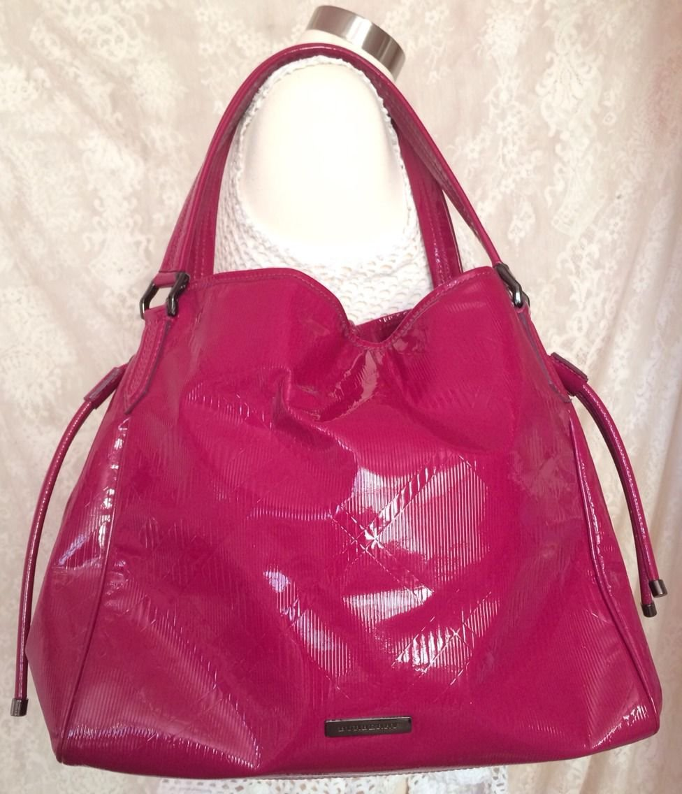 Burberry Large Pink Fuchsia Embossed Patent Leather Tote Purse