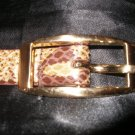 vintage snake skin belt with gold buckle, leather, size medium (but fits more like a small)