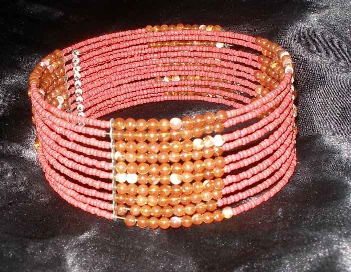 red and amber colored beaded vintage necklace, choker