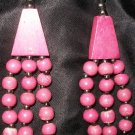 Vintage wooden beaded 3-strand beautiful necklace, pink beads