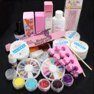 DIY Acrylic Glitter Powder Glue File Nail Art UV Gel Tips Decorations Set Kit