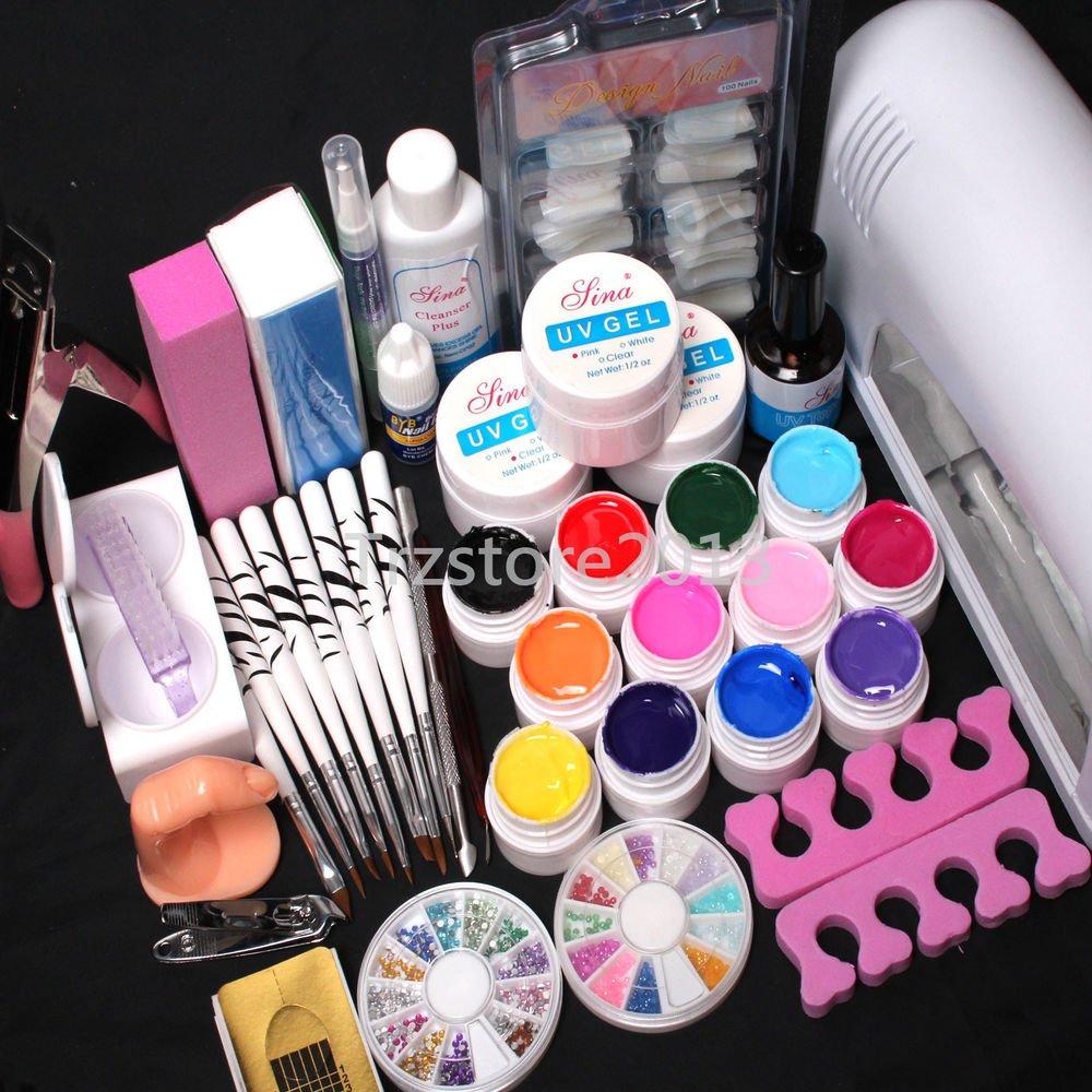 Pro 9W Lamp Dryer UV Builder Gel Nail Art Buffer Block Brush Pen Tools Kits Sets