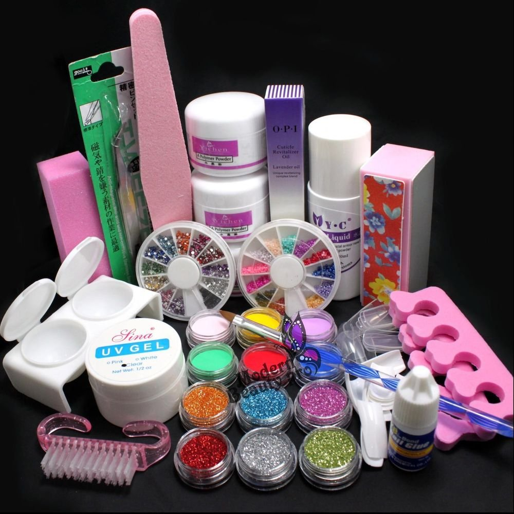 21in1 DIY Acrylic Powder Glitter Nail Art Brush Glue UV Tips Tools Full Kit Set