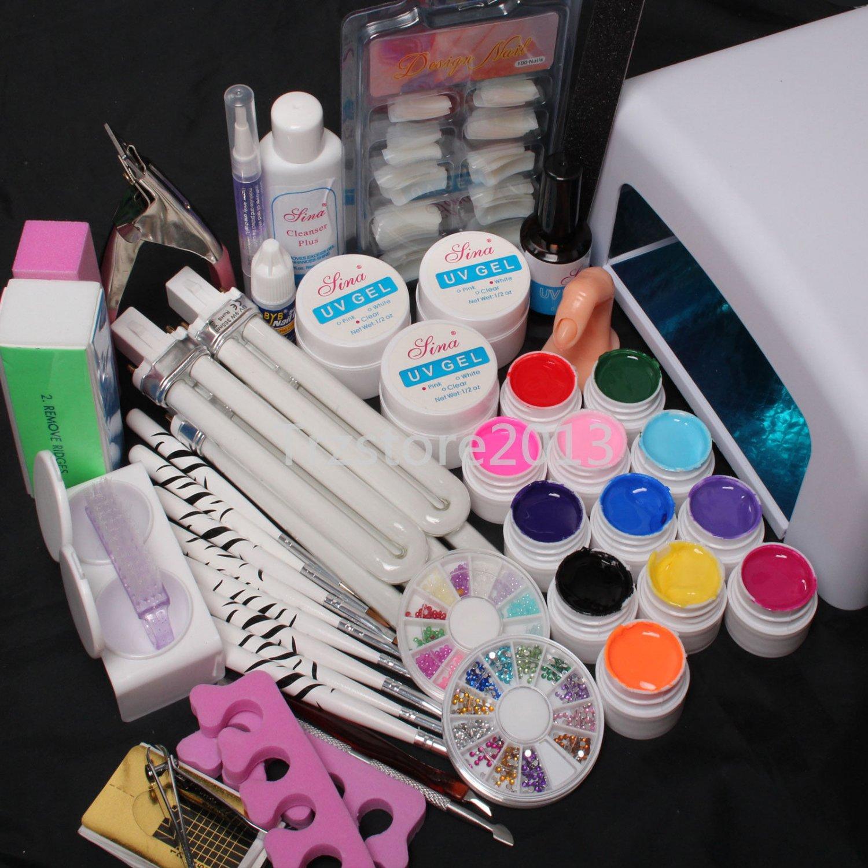 US Seller 36W UV GEL Lamp Dryer 12 Soild Color UV Gel Nail Art Tools Sets Kits