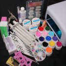 US Seller 36W UV GEL Lamp Dryer 12 Soild Color UV Gel Nail Art Tools Sets Kits