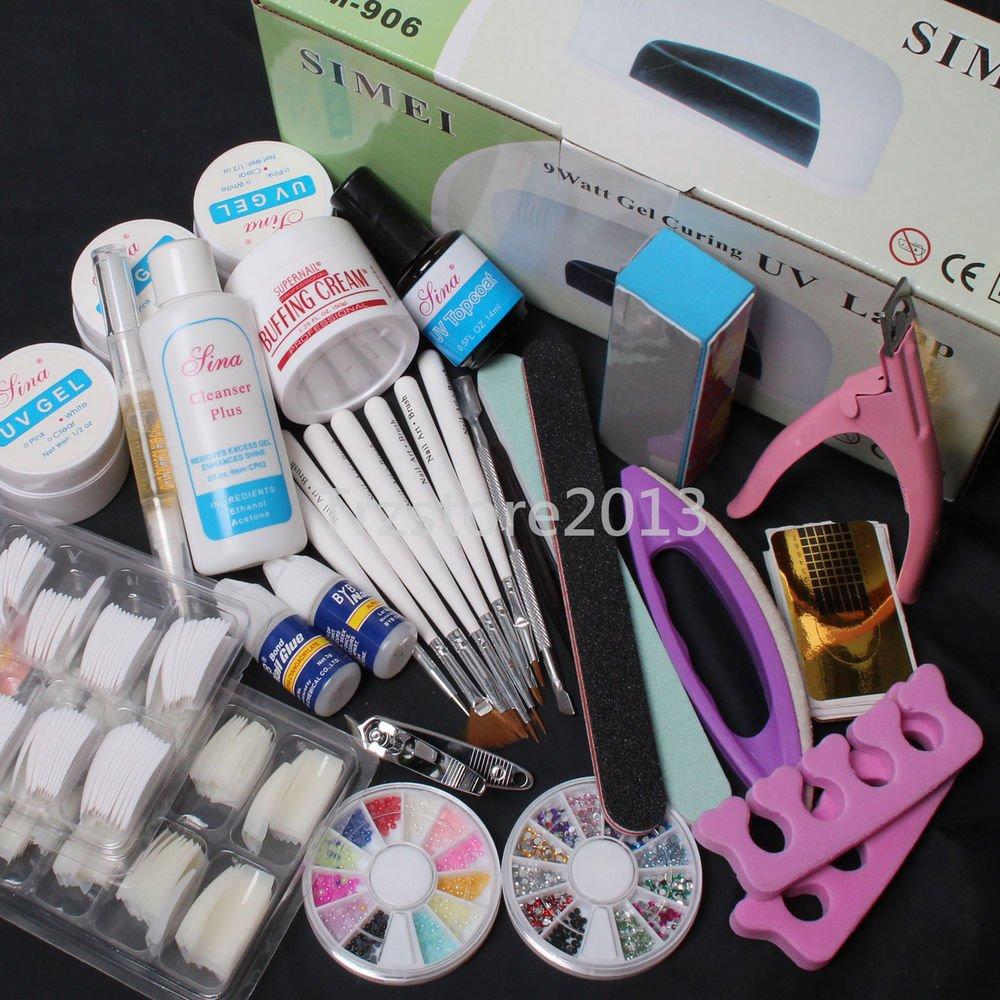 24 in 1 Professional Nail Art UV Gel Kit Tools UV Lamp Brush Nail Tips Glue Set