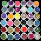 US Seller 36 PCS Glitter Mixed Color UV Builder Gel Acrylic Nail Art Tips Set