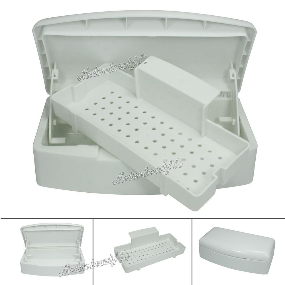 Pro White Two Layer Implement Sterilizing Tray Box Nail Art Tools 154872