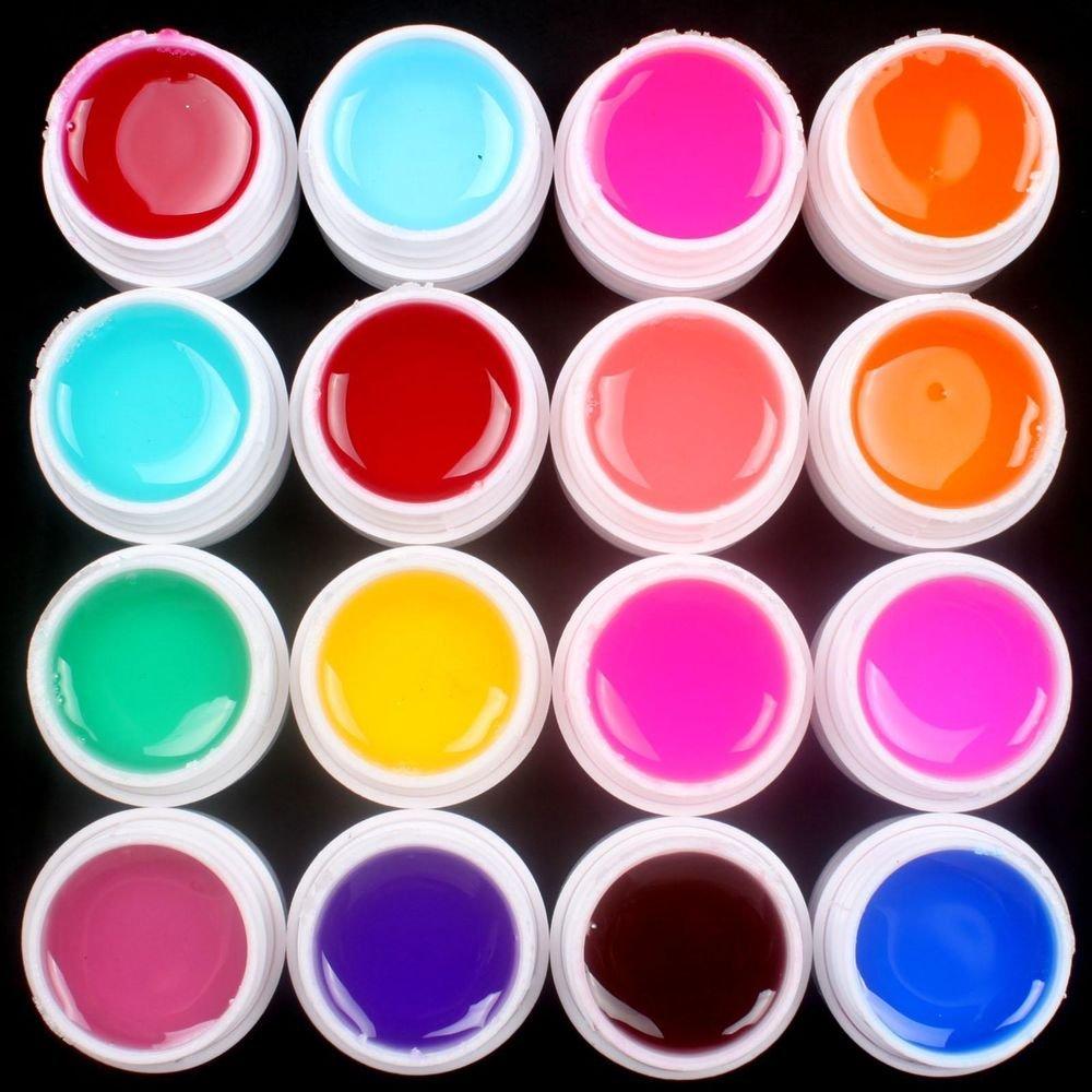 Pro 16 PCS Glass Semi-Transparent Mixed Color UV Builder Gel Nail Art Tips Set