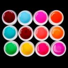 Pro 12 PCS Glass Semi-Transparent Mixed Color UV Builder Gel Nail Art Tips Set