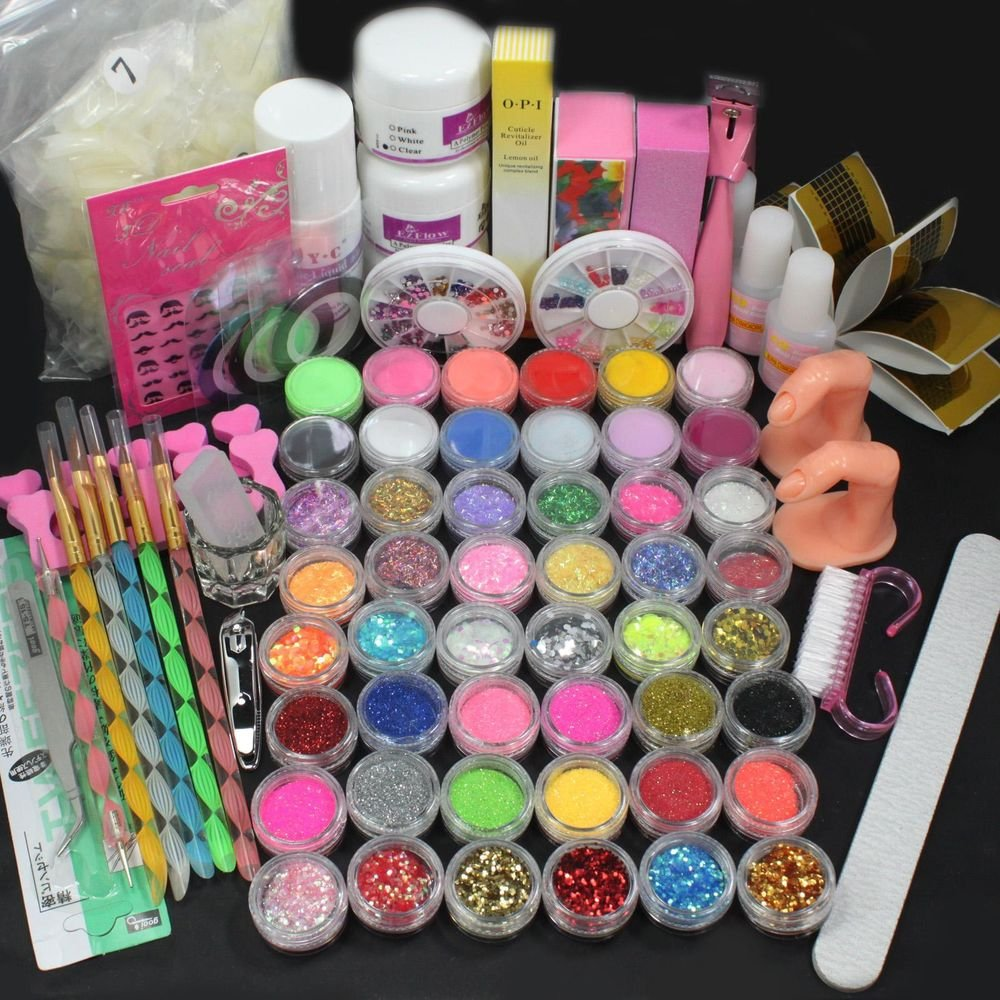 28in1 Acrylic Liquid Nail Art Brush Glue Glitter Buffer Block Deco Tips Tool Set