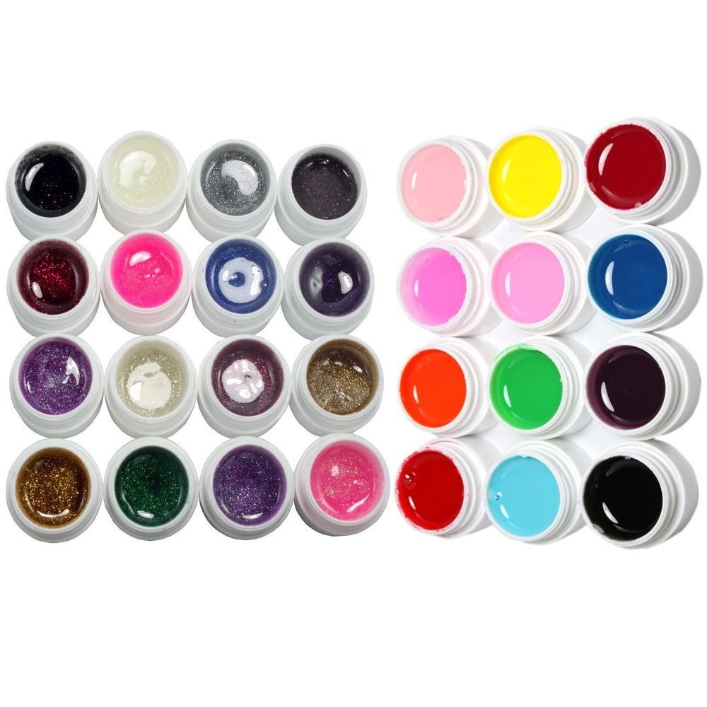28 Pcs Mix 12 Pure 16 Glitter Color UV Builder Gel for Nail Art Fasle Tips Set