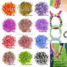 12 Duotone Color 600 Pcs DIY Refill Rubber Bands 25 Clips Tools for Rainbow Loom
