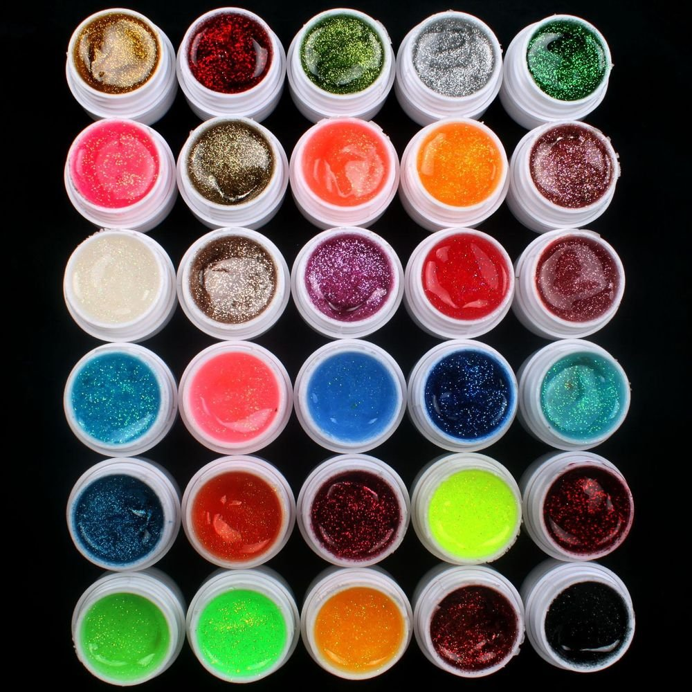 Professional 30 PCS Glitter Mix Color UV Builder Gel DIY Nail Art Tips US Seller