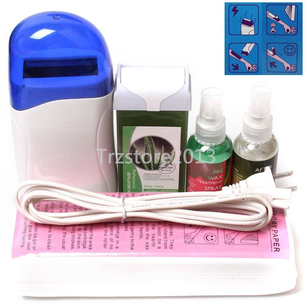 5in1 ï¼·hite Hair Removal Roll-On Depilatory Heater Waxing Warmer Full Tools Kit