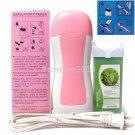 Pink Hair Removal Roller Depilatory Heater Tea Tree Wax Warmer Paper Full Kit
