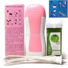 Hair Removal Roller Depilatory Heater Green Apple 100g Wax Warmer Paper Full Set