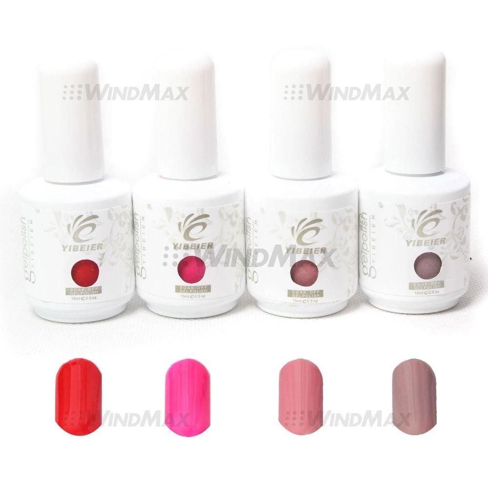 4PCS Pure Solid Color Soak-Off UV Polish Gel Nail Art Decoration Tools 0.5 OZ