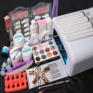26 in 1 Nail Art Tips UV Builder Gel Brush 36W Timer Dryer Lamp Decorations Kit