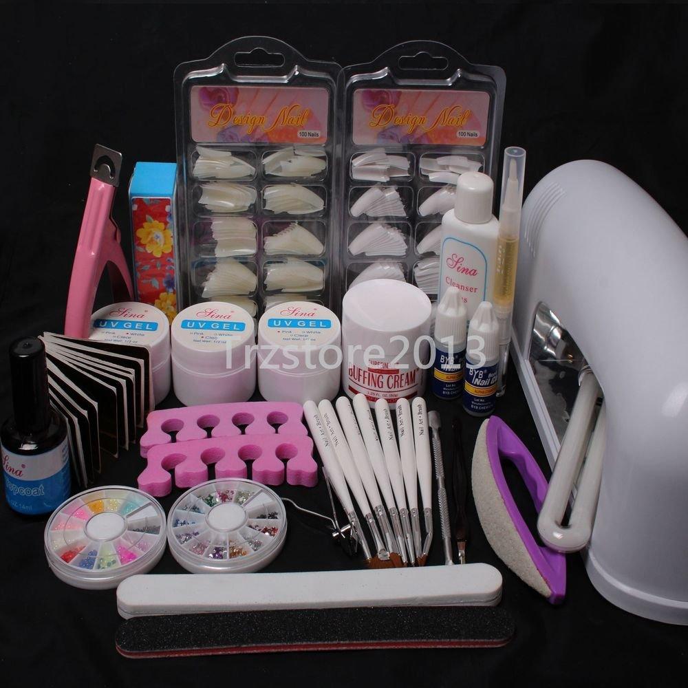 DIY Professional Nail Art UV Gel Kit Tools UV Lamp Brush Nail Tips Glue Set