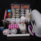 DIY Professional Nail Art UV Gel Kit Tools UV Lamp Brush Nail Tips Glue Set