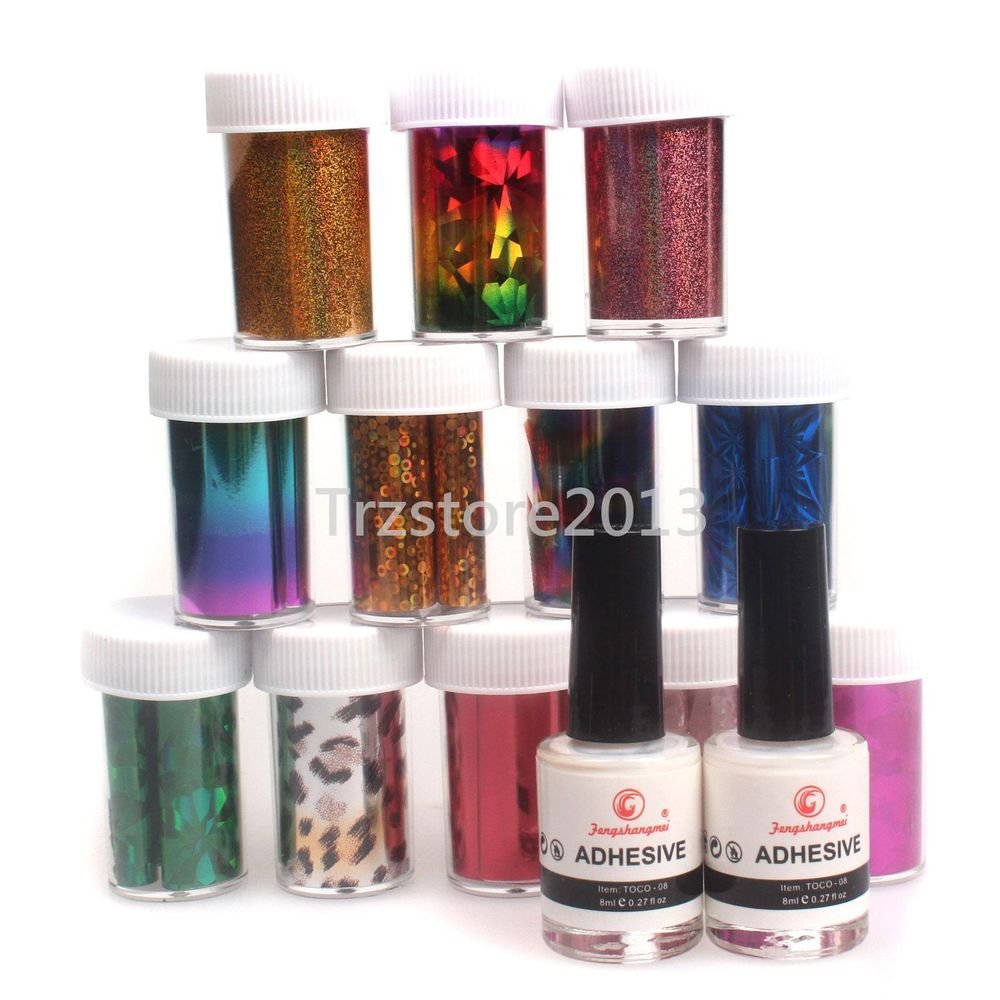 3in1 Pro 12 Color Nail Art Tips Transfer Foil Sticker 2Pcs Glue Adhesive 8ml Set