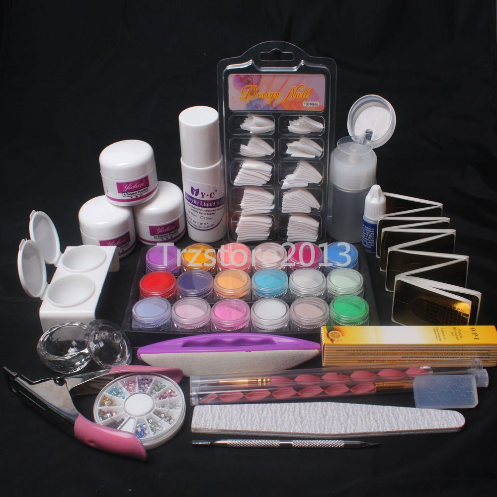 Pro Full Acrylic Liquid Powder Nail Art Tips Clipper Tools Kit Set #8023