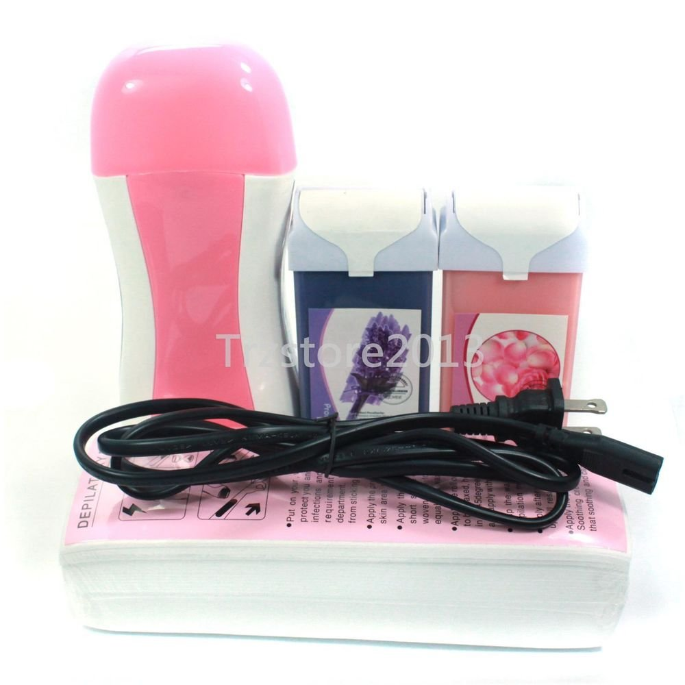 Pink Hair Removal Roll-On Depilatory Heater Wax Waxing Warmer Paper Kit Tools