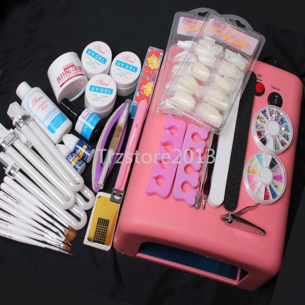 UV Gel Lamp Dryer Brush Pusher Files Nipper Nail Tips Art Tools Kit US Seller