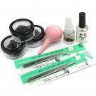 8 10 12 mm False Individual Extension Black Eyelash Glue Remover Tweezer Kit Set