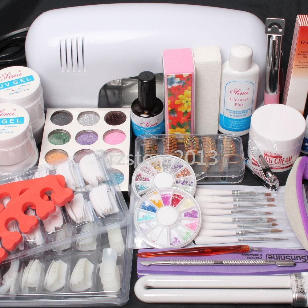 25in1 Nail Art UV Gel Set Lamp Dryer Brush Tips Top Coat Glue Glitter Deco Tools