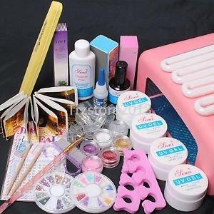 New 36W UV Dryer Lamp Timer Block Sanding French Nail Art Tips Gel Tools DIY Kit