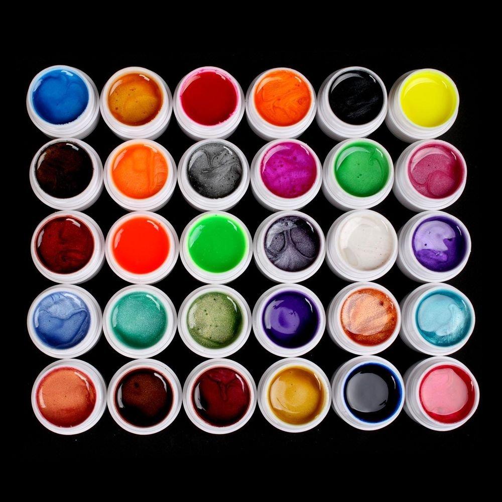Hot Professional 30 Color Pearl UV Builder Gel Acrylic Nail Polish Tips Art Kit