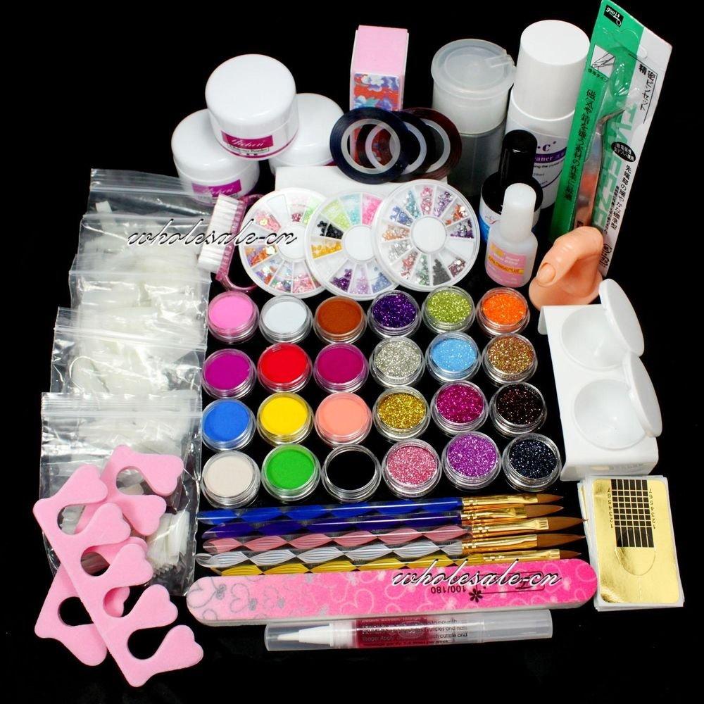 DIY Full Nail Art Set Acrylic Glitter Powder Primer Tips Brush Glue Dust Kit Set
