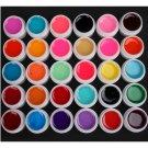 Pro 30 PCS Glass Semi-Transparent Mixed Color UV Builder Gel Nail Art Tips Set