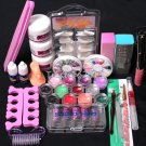 Professional 24in1 Full Acrylic Nail Art Tips Set Liquid Buffer Glitter Tool Set