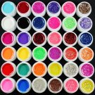 US Seller 36 Mixed Color Pure Glitter Hexagon Sheet UV Builder Gel Nail Art Tips