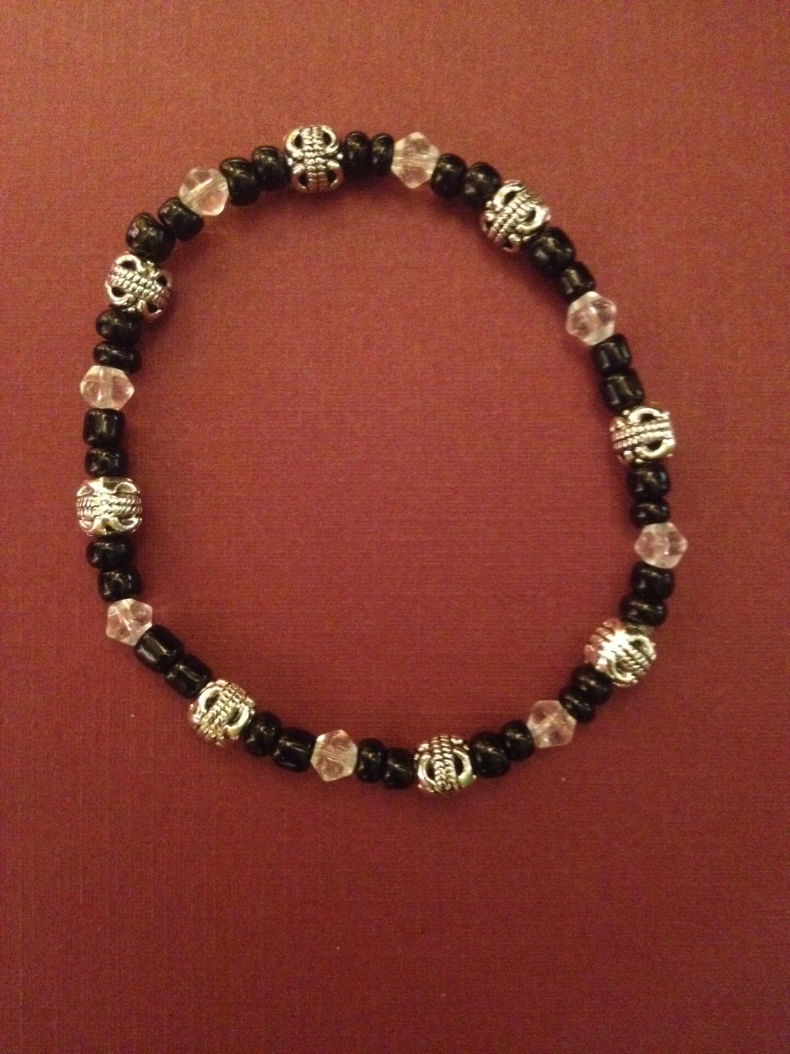 Antique Silver-Plated with Black and Crystal Bracelet