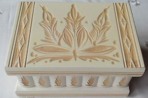 Beautiful handcarved wooden puzzle magic jewelry hidden drawer box with mirror