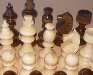 New beautiful handcrafted nutbrown color hazel wooden chess pieces,King 3.62 in