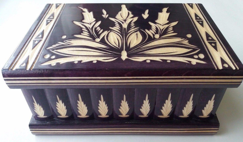 New big huge deep violet wooden jewelry secret magic puzzle box case adventure