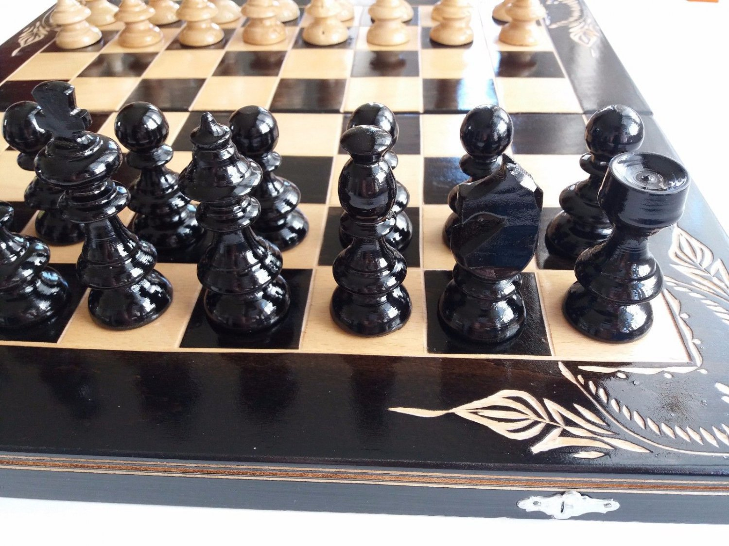 Big black handcarved beech wood chessboard box chess piece backgammon checkers