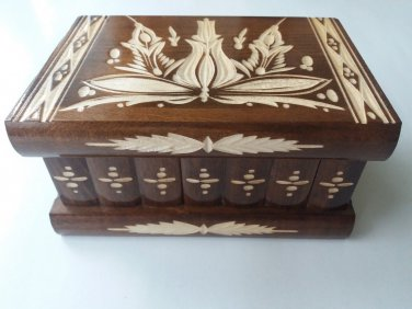 New brown handmade wooden wizard jewelry puzzle magic storage box brain teaser