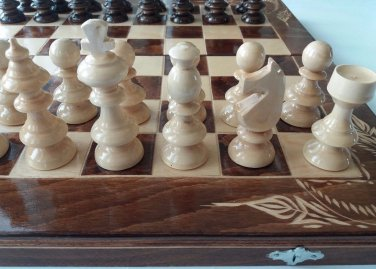 New brown wooden chess set backgammon checkers carved beech wood chessboard box