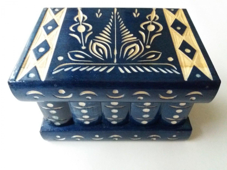New blue handmade wooden puzzle magic storage jewelry secret mystery box