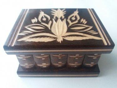 New cute handmade wooden secret magic puzzle jewelry ring holder surprise box