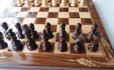 New big 20x 20 in beech wood chessboard box chess piece set backgammon checkers
